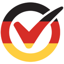 I am vaccinated logo, German flag. Click to download.