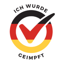 """I am vaccinated logo, German flag. """"Ich wurde geimpft"""" text in it. Click to download."""