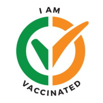 """I am vaccinated logo, Irish flag. """"I am vaccinated"""" text in it. Click to download."""