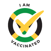 """I am vaccinated logo, Jamaican flag. """"I am vaccinated"""" text in it. Click to download."""