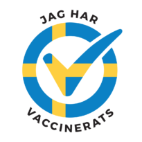 """I am vaccinated logo, Swedish flag. """"Jag har vaccinerats"""" text in it. Click to download."""